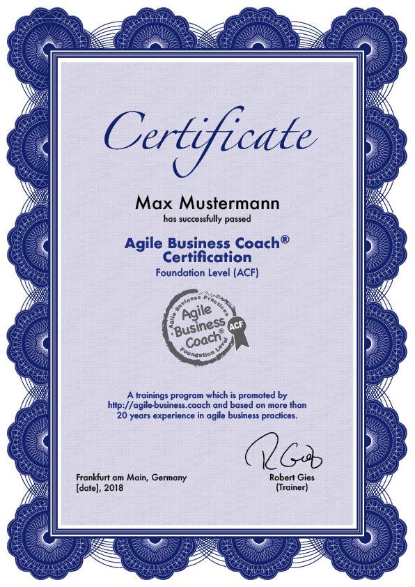 Agile Business Coach Foundation Level Acf